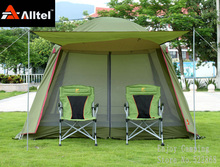 Large space 5-8person double layers camping tent with one pair of door poles and bottom mat(China)