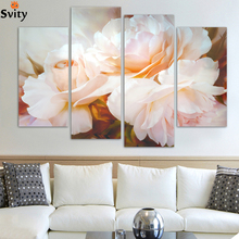 4 Pcs/Set Combined Rose Flower Paintings Modern Wall Painting Canvas Wall Art Picture Unframed H096(China)