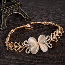 SHUANGR Fine Jewelry Natural Stone Champagne Opal Clover Gold Color Bracelets&Bangles Top Quality Bracelet For Women bijoux