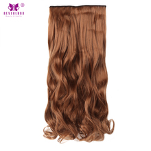 "Neverland 22"" 7pcs/set Full Head Women Wavy Hair Hairpiece Clip in Hair Extensions Heat Resistant Synthetic Light Auburn Color(China)"