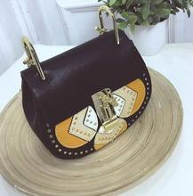 Women Vintage Leather Rivets Pig Messenger Bags louis Bags Chains Patchwork Lock Shoulder Bags michael cc Handbags sac a main(China)