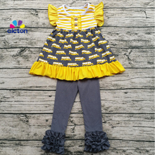 Sunny Girl Clothing Children Fall Ruffle Clothing Set Baby School Bus Print back to school Outfit Wholesale Baby Sweet Girl Clo(China)