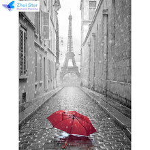Zhui star full square drill diamond embroidery Red umbrella Eiffel Tower 5d diy diamond painting Cross Stitch Rhinestone mosaic