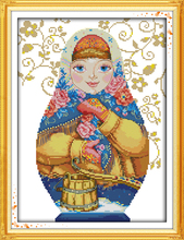 Russian Doll (6)Girl DMC Cartoon Cross stitch kits 14CT  White 11CT Print Embroidery DIY Handmade Needlework Set Wall Home Decor