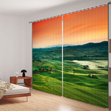 Bedroom Living Room Kitchen Home Textile Luxury 3D Window Curtains Grassland Scenery Gift For Home