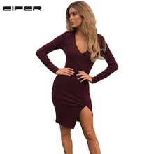 EIFER Women Sexy Bodycon V Neck Dress Winter Autumn 2017 Women Fall Fashion New Designer Side Slit Midi Dress(China)