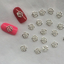 2015b Japan 3D 100pcs/bag Nail Art Decoration Silver Pierced Rose Mental Nail Polish Sticker Glitte Nail Deco for Bride