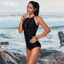 Swimsuit One-Piece Black Vintage Beach Plus-Size Woman Female for Big Lace