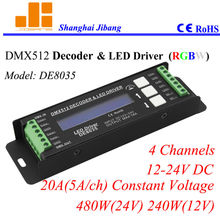 Free Shipping RGBW DMX decoder, Constant Voltage LED Driver, 4 Channels/12V-24V/20A/480W pn:DE8035(China)