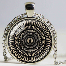 Mysterious mandala necklace sacred geometry jewelry spiritual accessory black buddhist OM symbol yoga pendant for men