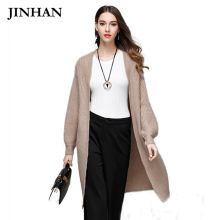 JINHAN Fashion Long Cardigan Swearters Winter Open Stitch Lantern Sleeve Knitwear Cardigans Solid Womens Wool Cardigans JHS877(China)