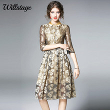 Buy Willstage Golden Lace Dress Elegant High Sequins Dresses Women Sexy Hollow Party Dress 2018 Spring Fashion vestidos for $24.98 in AliExpress store