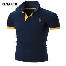 EINAUDI Mens Polo Shirt Brands 2018 Male Short Sleeve Casual Slim Solid Color Printing Deer Pattern Polos Men 3XL(China)