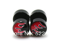 50pcs free shipping piercing body jewelry 8mm black acrylic red fire logo picture fake earrings ear plug cheaters(China)