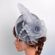 Hot sales Fashion Feather Women Hair Accessories Ostrich Hair Lady Hat Linen High-end For Female Wedding Business Gifts Hairpins