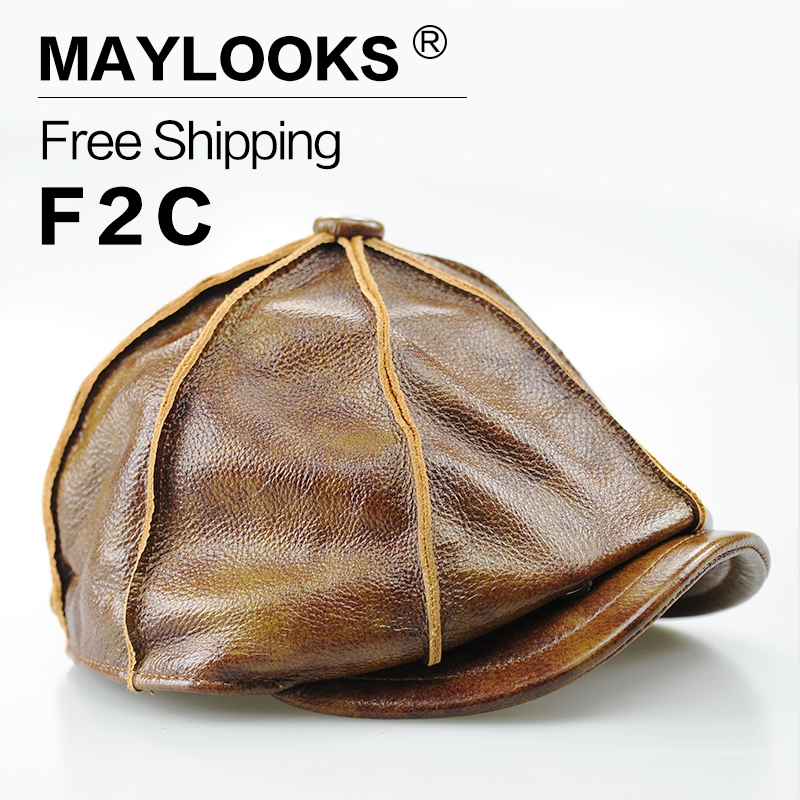 Maylooks 2017 Real Genuine Cow Leather Hat For Men The Most Popular Baseball Caps Cowhide Warm Winter With Cotton Padding CS08(China (Mainland))