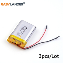 3pcs /Lot 3.7v lithium Li ion polymer rechargeable battery 122540 1200mAh for DVR RECORD MP3 MP4 GPS SMART WATCH SPORT CAMERA(China)