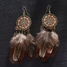 Top quality Sunflower feather Women Earring Brand New Bohemia Vintage Drop Long Feather Water Drop Eearrings for Women Handmade