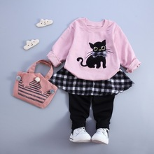 2015 autumn Christmas baby girl long-sleeved t-shirt+pants suit lace bow hello kitty cat dot baby girl clothes princess set suit(China)