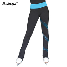 Customized Ice skating long pants Figure Skating Trousers warm fleece Adult Child Competition Performance shiny Rhinestone