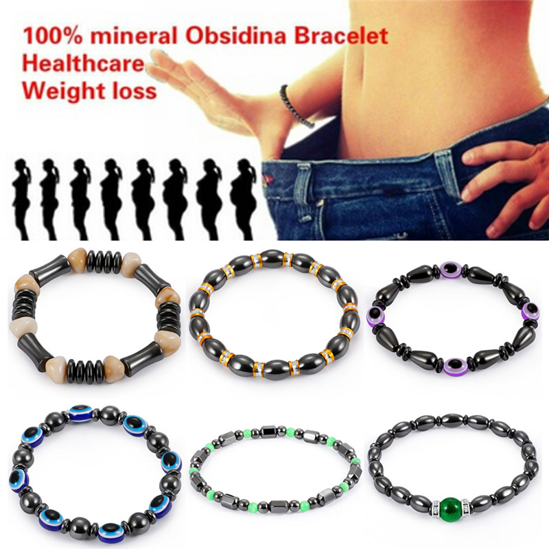 Magnetic Hematite Round Beads Stretch Bracelet For Men Women 5.8cm Anti-Fatigue Health Care Energy  Jewelry Face Lift Tools