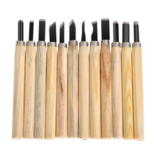 12pcs Wood Carving Tools Woodworking Knife Set Iron with Wood Handle Hand Chisels Knife Drop Shipping(China)