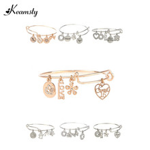 Keamsty Hot Fashion Expandable Charm Bangles Bracelets with Charms Dangle Rose Gold and Silver Plated Wire Bangle Women Jewelry(China)
