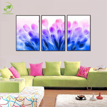 Modern 3pcs Framed Canvas Painting Abstract Flowers Melamine Sponge Board Wall Art Landscape Oil Paint Home Decor Flower Picture