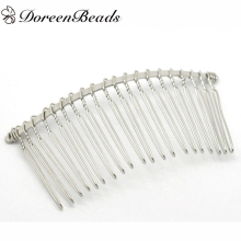 "DoreenBeads 10 PCs dull silver color Comb Shape Hair Clips 7.8cm x 3.8cm (3-1/8""x1-1/2"") (B17122)(China)"