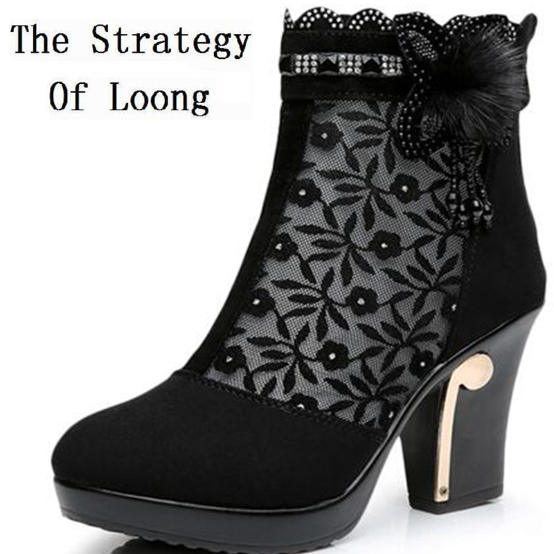 Women Summer Full Grain Leather Cut Outs Flowers Breathable High Heels Shoes Genuine Leather Fashion Grace Lady Half Boots 1116<br>