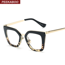 Peekaboo New 2016 vintage eyeglasses frames fashion cat eye half metal frame glasses for women brand designer black leopard
