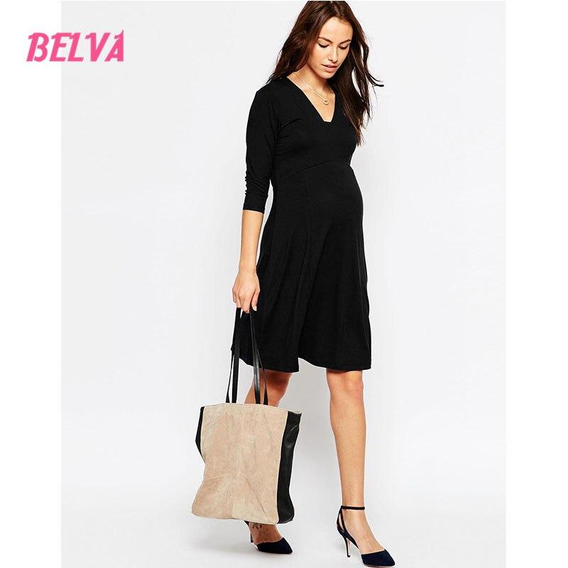 Belva V Neck Black maternity clothing dress photography maternity clothes women party dresses pregnancy nursing pajamas DA707111<br>