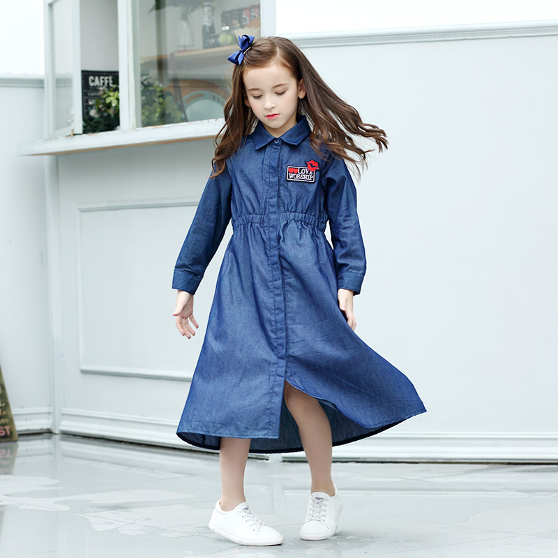 Girl Denim Long Dress Mother and Daughter Dress 6-15Y Teen Girls Dress Long Sleeve Kiss Embroidery Fall Childrens Casual Dress <br>