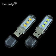 Tanbaby USB LED Light Lamp 3 LED SMD 5730 USB Lamp White For Reading Camping USB Gadget for Laptop Mobile Power Lighting