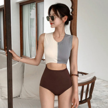 One-Piece Swimsuit Korean-Trend Decorative-Design Japanese Front-Zipper White Sexy Woman