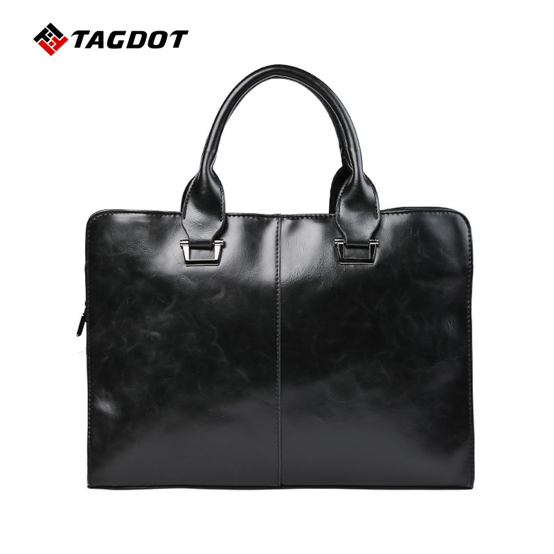 New Fashion Mens Briefcase Crazy Horse PU Leather Bag Men Leather Business Shoulder Bags Quality Stylish Brand Handbags Brand T<br>
