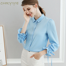 Buy OHRYIYIE White/Blue Office Lady Blouses Shirts Women's Lantern Sleeve Chiffon Blouses Female Bow Blouse Work Clothing Tops for $8.96 in AliExpress store