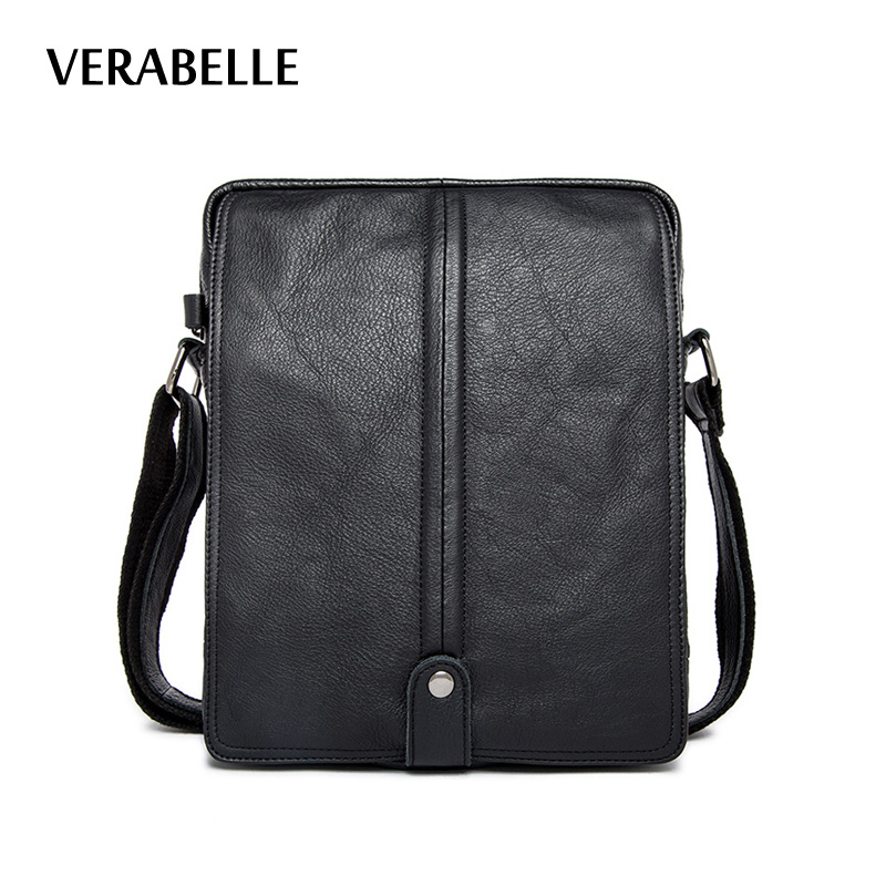 VERABELLE 2017 high quality mens casual solid genuine full-grain cowhide leather business crossbody shoulder/messenger bags<br>