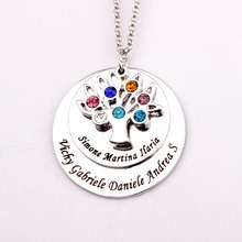Personalized Family Tree Pendant Necklace with Birthstones 2016 New Arrival Birthstone Necklaces Custom Made Any Name YP2548(China)