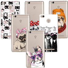 New style Most popular Transparent Soft Silicone Cartoon pet dog soft  Coque For Redmi 3 3S 4A 4 4S Note 3 Note 4 Cases luxury
