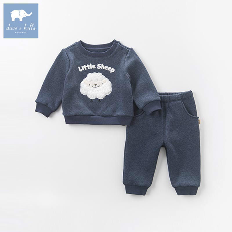 DBZ6302 dave bella autumn winter infant boys clothing sets sheep printed children suit high toddler outfits Clothing Suits<br>