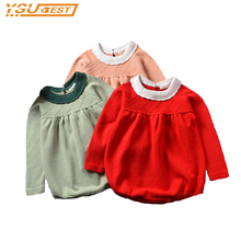 Baby Girls Knitted Romper Sweater Cotton Knit Crochet Romper Kids 2017 New Girls Autumn Winter Jumpsuit Romper Solid Clothes(China)