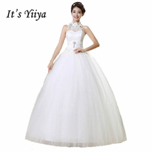 Buy It's YiiYa wedding gowns 2017 plus size lace wedding dress halter sexy white cheap design bride Vestidos De Novia HS167