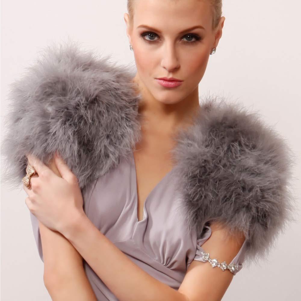 1 AO780_77 -grey-feather-fur-wrap-jacket-