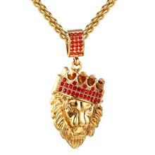 2017 New Red Crystal Lion Pendant Necklace Blue Cz Men/women Crown Lion Necklaces  Hip Hip Lion Jewelry New Year Gift