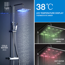 Buy HPB Brass Chrome Bathroom LED Thermostatic Shower Faucet Set 10 inch Square Shower Head Bath Shower Mixer Tap HP8802 for $650.99 in AliExpress store