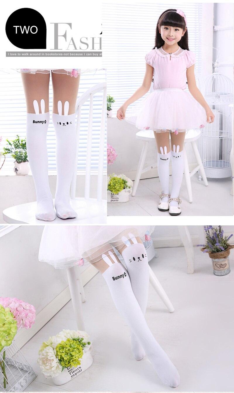 Summer Baby Kids Girls Thin Leggings Knee Cute Cartoon Patchwork Velvet Stocking white Cartoon Kitty Cat Leggings 3-9Y 11