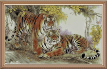 FREE delivery hot selling Top Quality counted cross stitch kit two tigers tiger mate couple lover