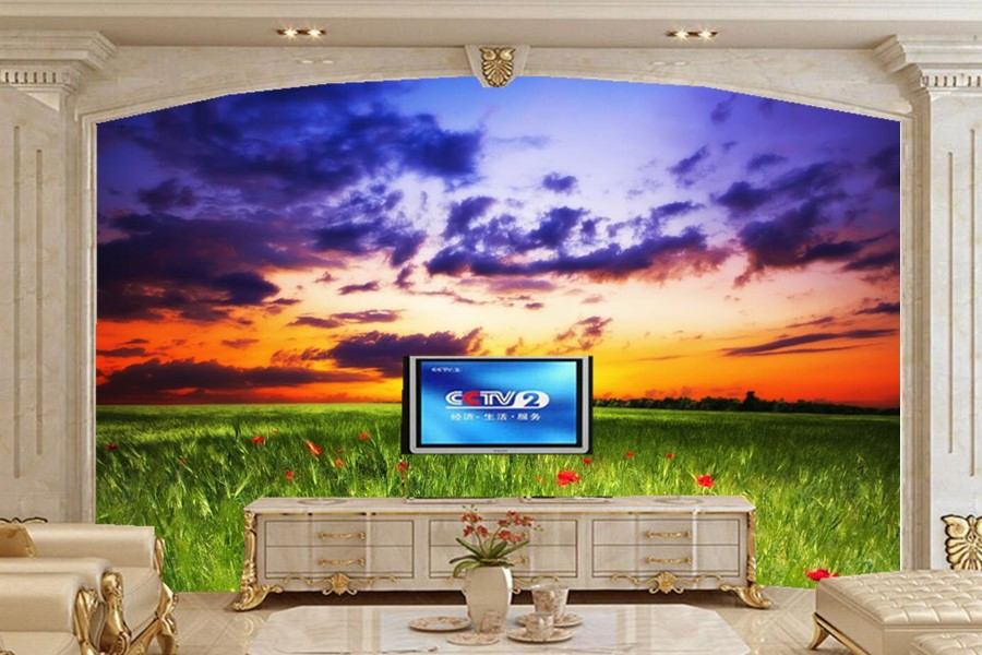 Custom Sky Sunrises and sunsets Scenery Clouds Grass Nature wallpapers photo 3d,living room sofa tv wall bedroom 3d wall mural<br>