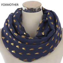 FOXMOTHER 2017 New Design Fashion Navy Burgundy Metallic Foil Gold Moose Deer Head Print Infinity Scarves